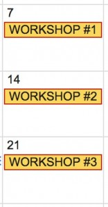 Dates for 3 half-day workshops